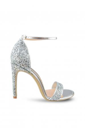 Sandale Mihai Albu din piele Silver Glitter