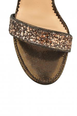 Sandale Mihai Albu din piele Bronze Glitter