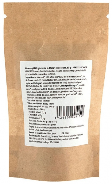 Afine rosii bio, glazurate in 4 feluri de ciocolata, 60 g