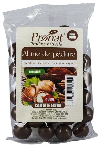 Alune de padure invelite in ciocolata cu lapte si scortisoara, 100g