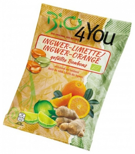 Dropsuri BIO din ghimbir-lime si ghimbir-portocale, 75 g
