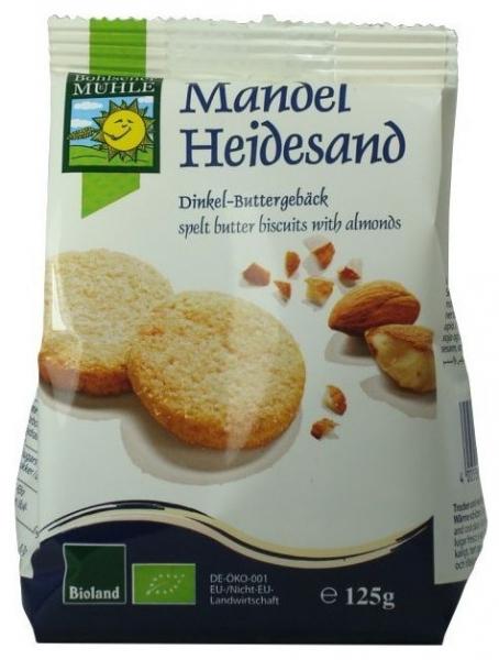 Biscuiti Bio din faina de grau spelta, cu unt si migdale, 125g