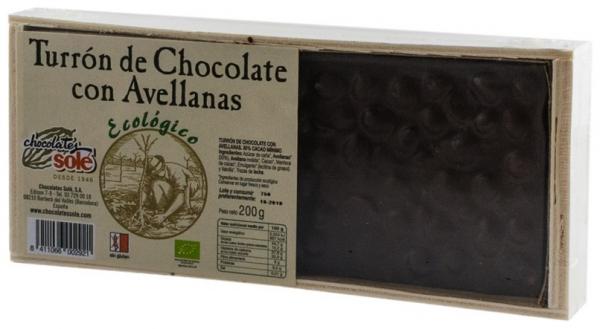 Chocolates Sole – Ciocolata BIO Turron cu alune de padure, (minim 30% continut de cacao) 200 g