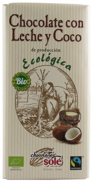 Chocolates Sole – Ciocolata cu lapte si cocos BIO si Fairtrade, 100g