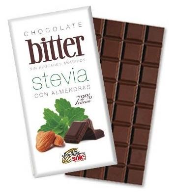 Ciocolata neagra 72% Cacao cu STEVIA si Migdale (mai putine calorii) 100 gr
