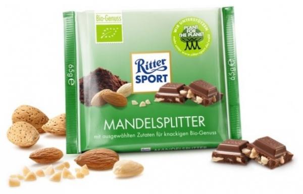 RITTER SPORT – Ciocolata Bio cu bucati de migdale 23% cacao, 65 g