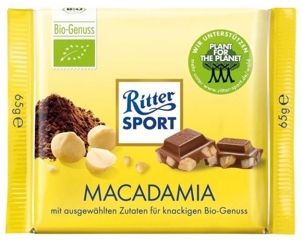 Ciocolata Bio cu nuci de MACADAMIA Ritter Sport 65 gr