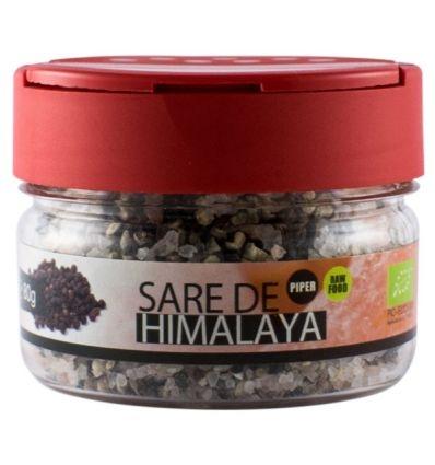 Solniță  Sare de Himalaya cu boabe de piper negru Bio, 80g