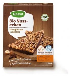 Desert fara gluten: 2 Triunghiuri cu Ciocolata cu multe Alune de Padure BIO 150 gr