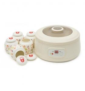 Aparat preparat iaurt Oursson FE1502D/IV, 20 W, 1 l, 5 recipiente ceramica, LCD, Functie fermentare, Timer, Alb