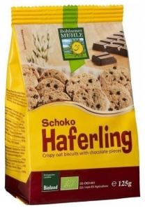Biscuiti Bio crocanti din ovaz cu bucatele de ciocolata, 125g