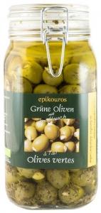 Masline verzi umplute cu usturoi in ulei, bio, 1,50 kg