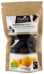 GHIMBIR BIO glazurat in ciocolata neagra 50gr