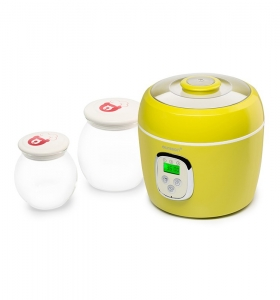 Iaurtiera-fermentator Oursson FE0205D/GA, 2 vase de sticla, 1L si 2L, Afisaj LED,  Verde