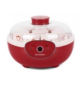 Iaurtiera-fermentator Oursson FE1105D/RD, 8 borcane ceramica, 8 x 125 ml, Oprire automata, Protectie la supraincalzire, Rosu