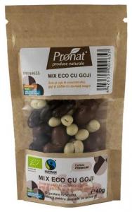 Mix Bio cu goji - seminte si fructe uscate trase in ciocolata, 40gr