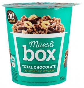 Muesli BOX – Mix de cereale crocante cu ciocolata, cu bucati de alune si ciocolata cu lapte, 85 gr