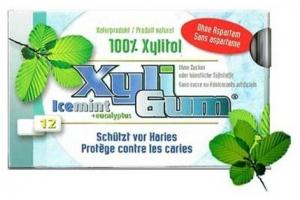 V-TALITY - Guma de mestecat 100% Xilitol, cu menta si eucalipt, 12 buc