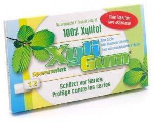 V-TALITY - Guma de mestecat spearmint, 100% xylitol, cu menta, 12 buc