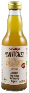 .VOELKEL -SWITCHEL bautura racoritoare enzimatica bio cu curcuma, suc de mere, sirop de artar, otet de mere si ghimbir, 200ml