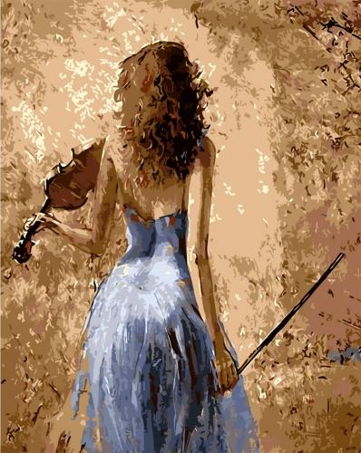 Fata cu vioara - Picturi pe numere - (40 x 50 cm)