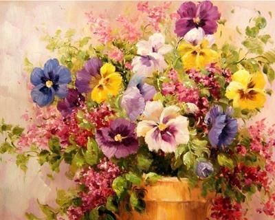 Picturi pe numere - Aranjament floral - (40 x 50 cm)