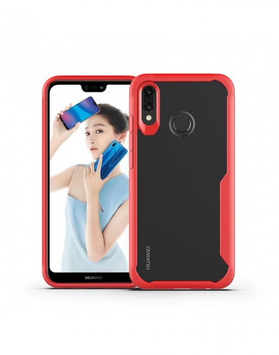Carcasa protectie spate din plastic si gel TPU pentru Huawei P20 Lite, rosie