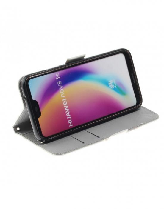 Husa protectie imprimata din piele ecologica pentru Huawei P20 Lite