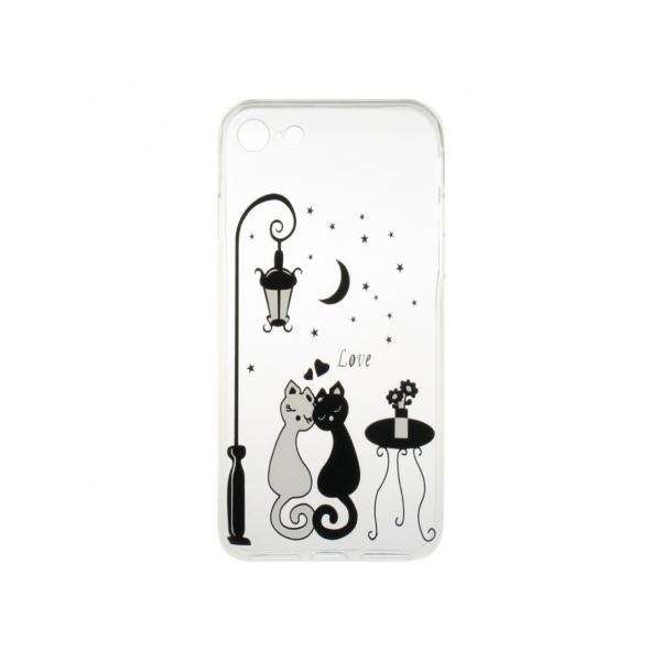 "Carcasa protectie spate CS din gel TPU imprimata ""Sweet Cat Lovers"" pentru iPhone 7 / iPhone 8"