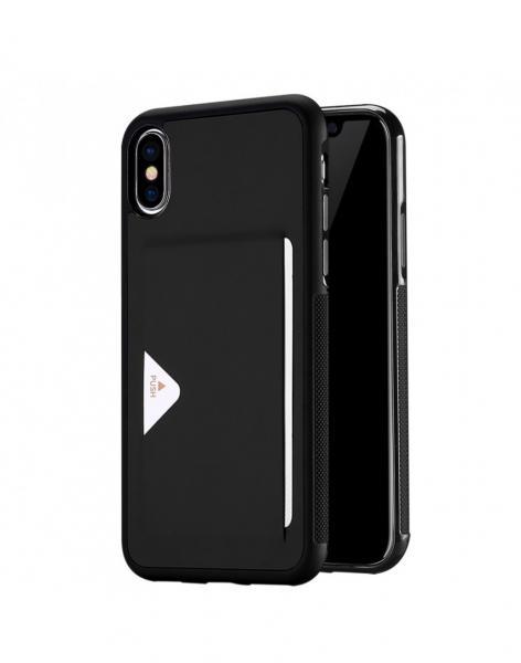Carcasa protectie spate cu suport de card pentru Iphone X 5.8 inch, neagra