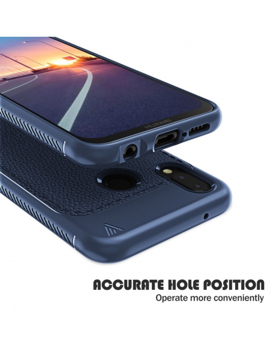 Carcasa protectie spate din piele ecologica si gel TPU pentru Huawei P20 Lite