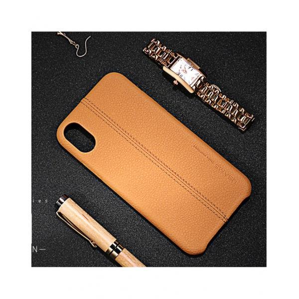 Carcasa protectie spate din piele ecologica si plastic pentru iPhone X 5.8 inch - amiplus.ro