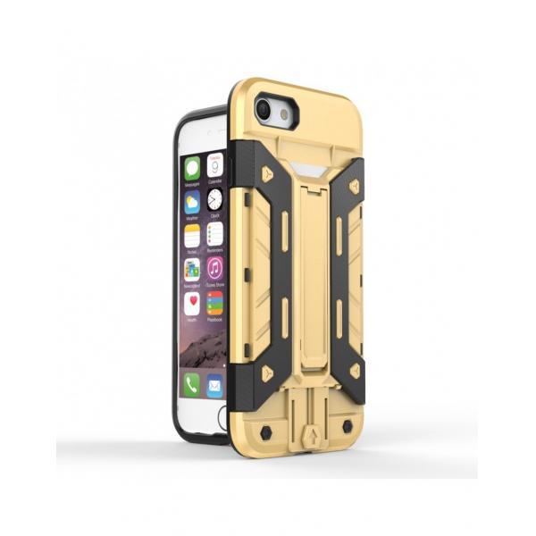 Carcasa protectie spate din plastic si gel TPU cu suport pentru card pentru iPhone 7 4.7 inch, gold