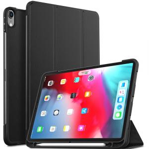 Husa protectie din piele ecologica si gel TPU pentru iPad Pro 11'' (2018), neagra