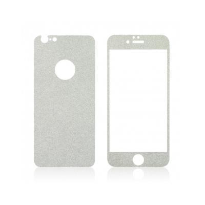 Pachet sticla securizata fata si sticker pentru spate cu sclipici pentru iPhone 6 Plus / 6s Plus 5.5 inch