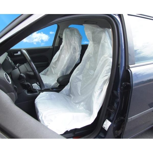 Huse  protectie scaune  masina alb 100buc