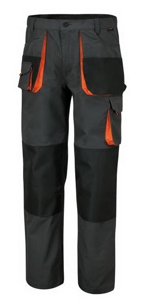 Pantaloni mecanic gri insertii portocalii cu buzunare speciale
