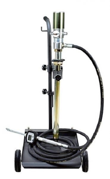 Distribuitor ulei cu carucior 50-60 litri pompa pneumatica transfer raport 3:1 pistol display cantitate furtun 4 m