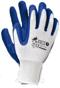 Set 12 manusi protectie albastre marimea L acoperite latex rezistente