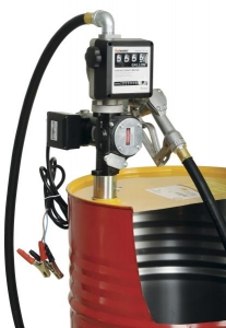 Distribuitor ulei cu pompa electrica 35/70 litri/min 12/24V furtun aspiratie 2 m furtun distributie 4 m cu pistol cu contor