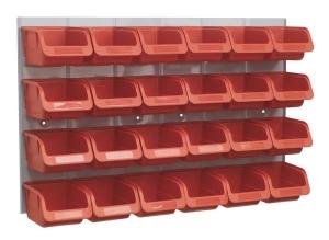 Recipient depozitare container cu panou perete 24 cutii rosu