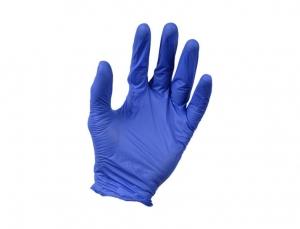 Set 100 manusi cu textura nitril fara pulbere albastre rezistente solventi si benzine marimea XL