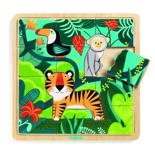 Puzzle incastru de lemn - Jungla animalelor