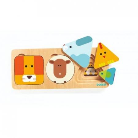Puzzle incastru - Forme, animale si colori