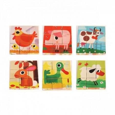 Cuburi de lemn - Animale PiouPiou