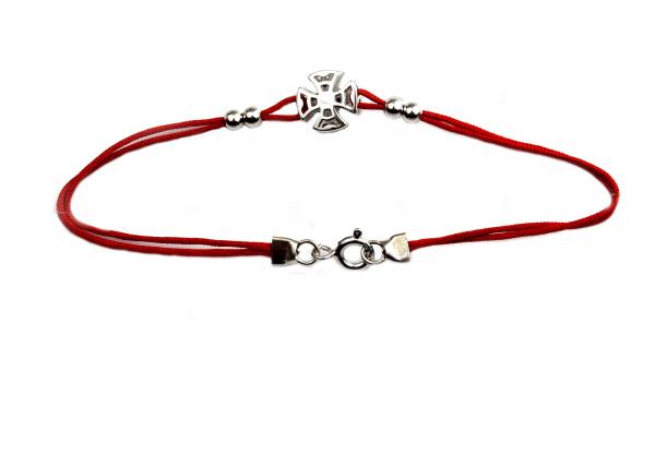 Bratara snur rosu cu pandant argint rodiat - DA149