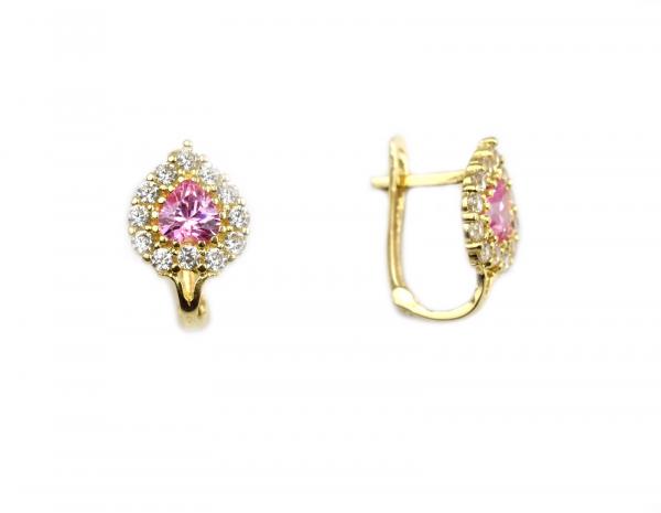 Cercei aur copii cu cristale roz si albe- DA29