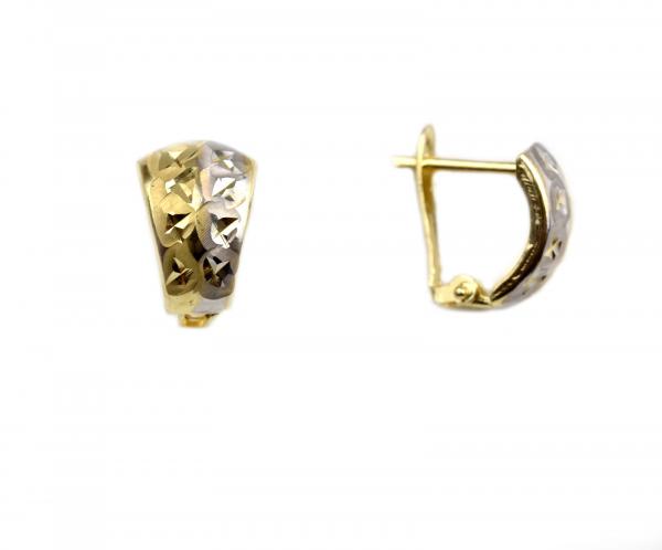 Cercei aur galben si alb - DA49
