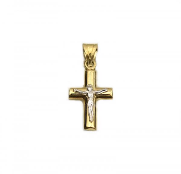 Pandant cruciulita aur galben si alb Iisus - DA252