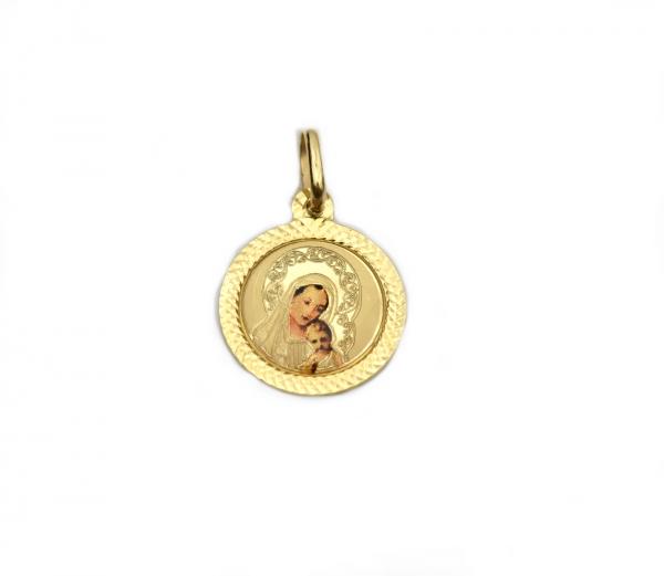 Pandant rotund aur galben Maica Domnului - DA248